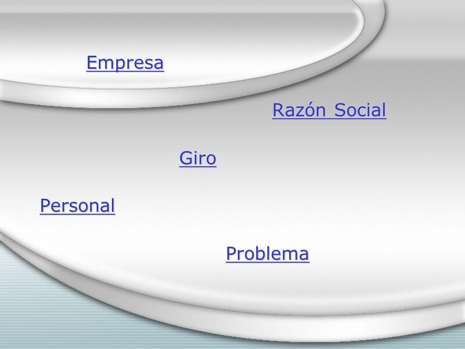 Empresa Razón Social Giro Personal Problema Empresa Razón Social Giro Personal Problema
