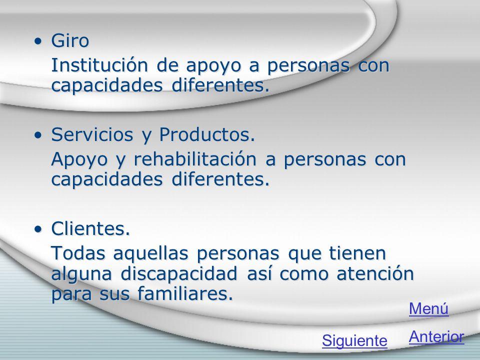 Giro Institución de apoyo a personas con capacidades diferentes. Servicios y Productos. Apoyo y rehabilitación a personas con capacidades diferentes.