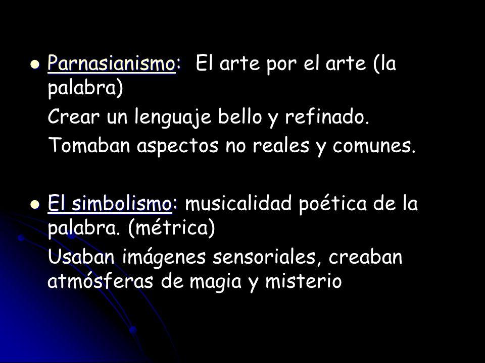 Parnasianismo: Parnasianismo: El arte por el arte (la palabra) Parnasianismo Crear un lenguaje bello y refinado. Tomaban aspectos no reales y comunes.