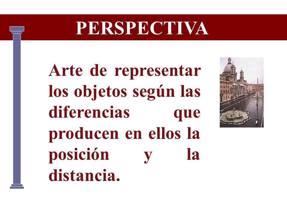 PERSPECTIVA Arte de representar los objetos según las diferencias que producen en ellos la posición y la distancia.