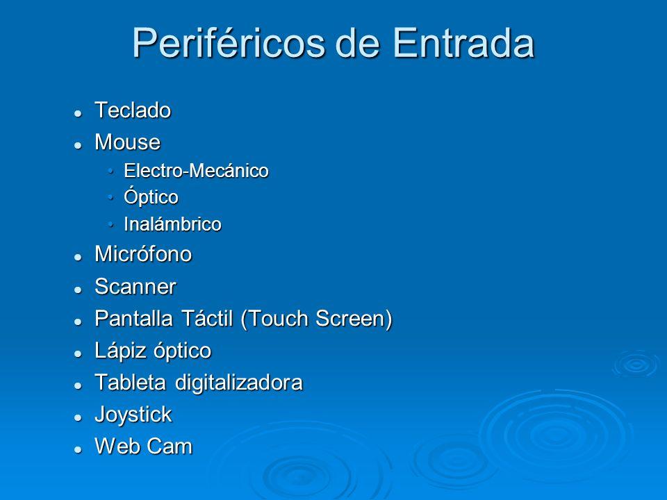 PERIFERICOS Se denominan periféricos tanto a las unidades o dispositivos a través de los cuales la computadora se comunica con el mundo exterior, como a los sistemas que almacenan o archivan la información, sirviendo de memoria auxiliar de la memoria principal.