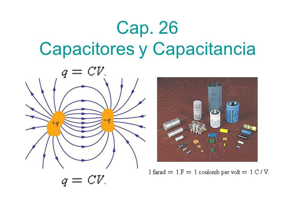 Capacitancia - C Es la constante de proporcionalidad entre carga y voltaje (diferencia de potencial) Es independiente de la carga y del voltaje Depende sólo de la geometría