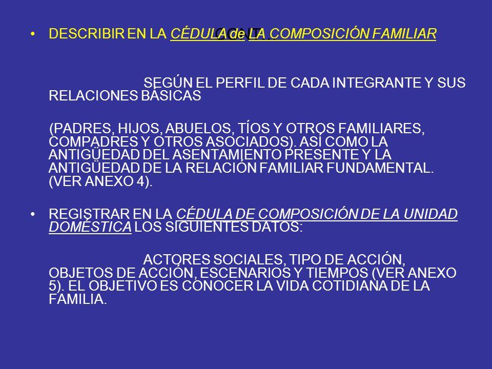 CONT… DESCRIBIR EN LA CÉDULA de LA COMPOSICIÓN FAMILIAR SEGÚN EL PERFIL DE CADA INTEGRANTE Y SUS RELACIONES BÁSICAS (PADRES, HIJOS, ABUELOS, TÍOS Y OT