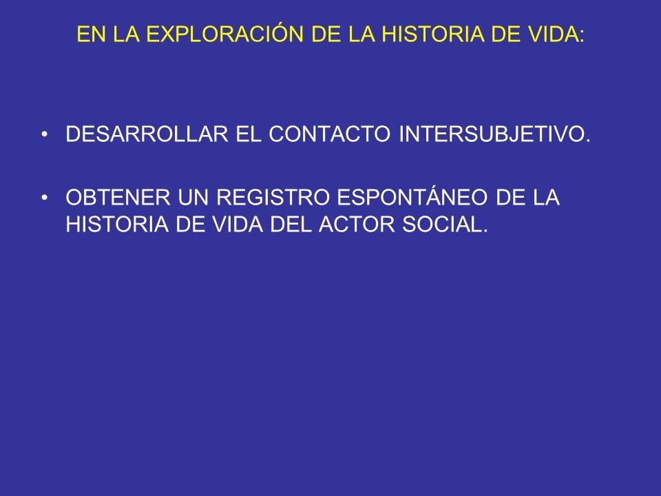 EN LA EXPLORACIÓN DE LA HISTORIA DE VIDA: DESARROLLAR EL CONTACTO INTERSUBJETIVO. OBTENER UN REGISTRO ESPONTÁNEO DE LA HISTORIA DE VIDA DEL ACTOR SOCI