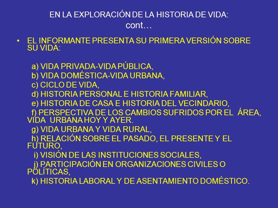 EN LA EXPLORACIÓN DE LA HISTORIA DE VIDA: cont… EL INFORMANTE PRESENTA SU PRIMERA VERSIÓN SOBRE SU VIDA: a) VIDA PRIVADA-VIDA PÚBLICA, b) VIDA DOMÉSTI