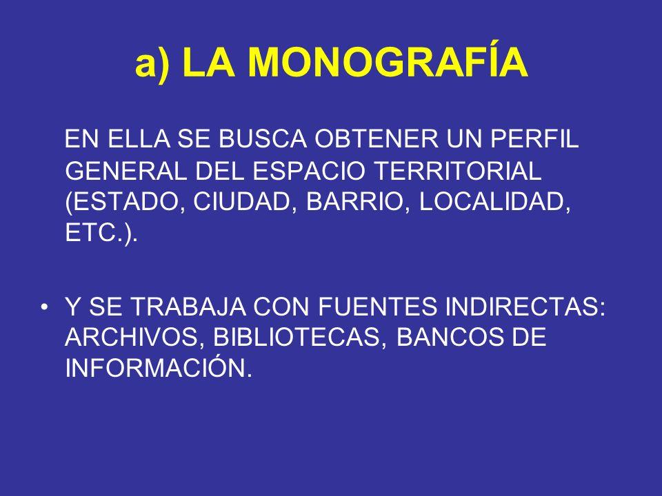 a) LA MONOGRAFÍA EN ELLA SE BUSCA OBTENER UN PERFIL GENERAL DEL ESPACIO TERRITORIAL (ESTADO, CIUDAD, BARRIO, LOCALIDAD, ETC.). Y SE TRABAJA CON FUENTE