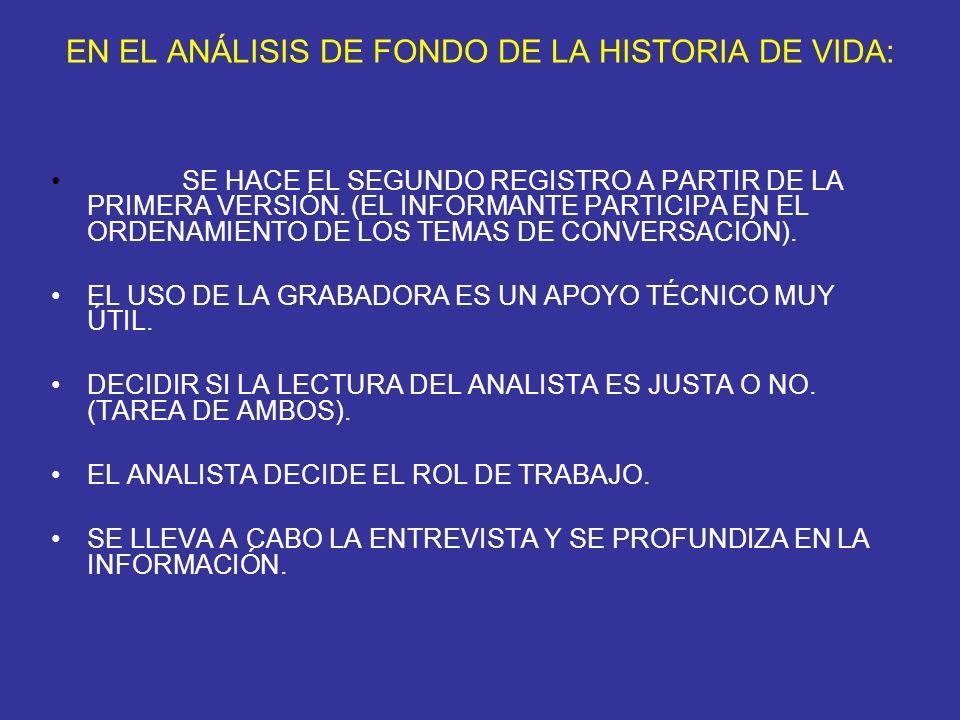 EN EL ANÁLISIS DE FONDO DE LA HISTORIA DE VIDA: SE HACE EL SEGUNDO REGISTRO A PARTIR DE LA PRIMERA VERSIÓN. (EL INFORMANTE PARTICIPA EN EL ORDENAMIENT