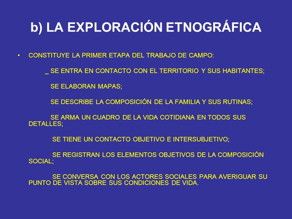 b) LA EXPLORACIÓN ETNOGRÁFICA CONSTITUYE LA PRIMER ETAPA DEL TRABAJO DE CAMPO: _ SE ENTRA EN CONTACTO CON EL TERRITORIO Y SUS HABITANTES; SE ELABORAN