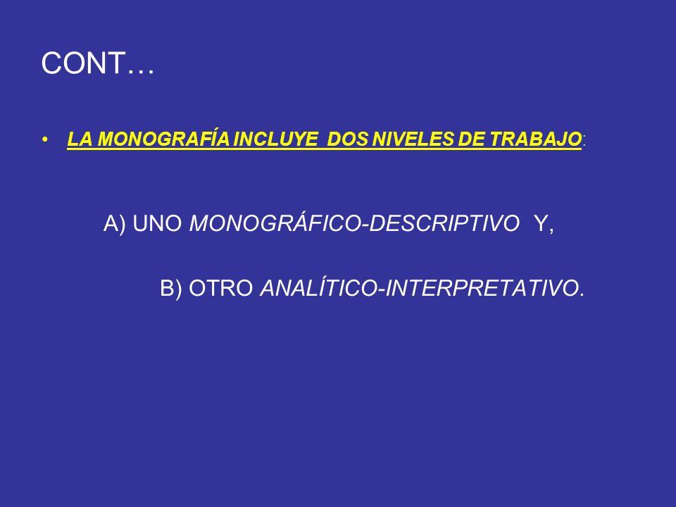 CONT… LA MONOGRAFÍA INCLUYE DOS NIVELES DE TRABAJO: A) UNO MONOGRÁFICO-DESCRIPTIVO Y, B) OTRO ANALÍTICO-INTERPRETATIVO.
