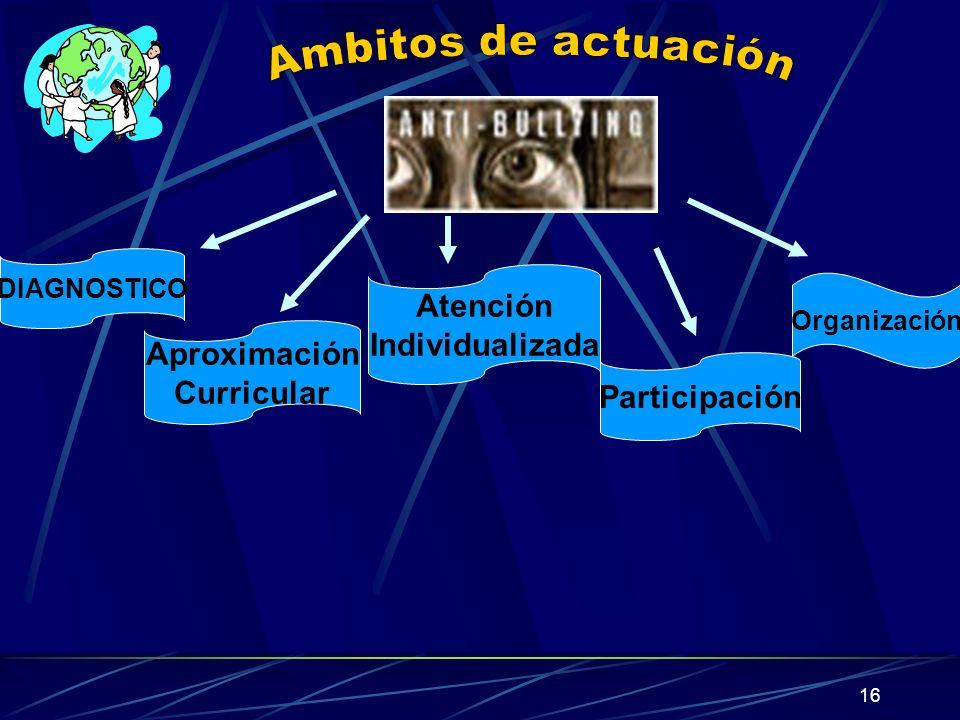 16 DIAGNOSTICO Aproximación Curricular Atención Individualizada Participación Organización