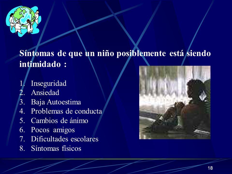 18 Síntomas de que un niño posiblemente está siendo intimidado : 1.Inseguridad 2.Ansiedad 3.Baja Autoestima 4.Problemas de conducta 5.Cambios de ánimo