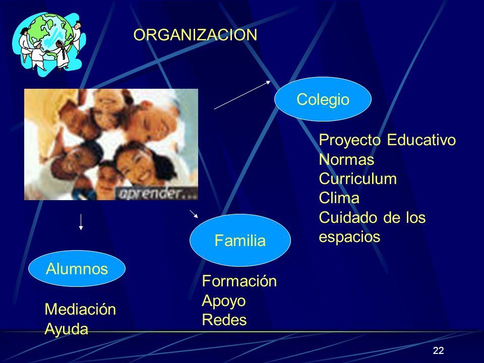 22 ORGANIZACION Colegio Proyecto Educativo Normas Curriculum Clima Cuidado de los espacios Familia Formación Apoyo Redes Alumnos Mediación Ayuda