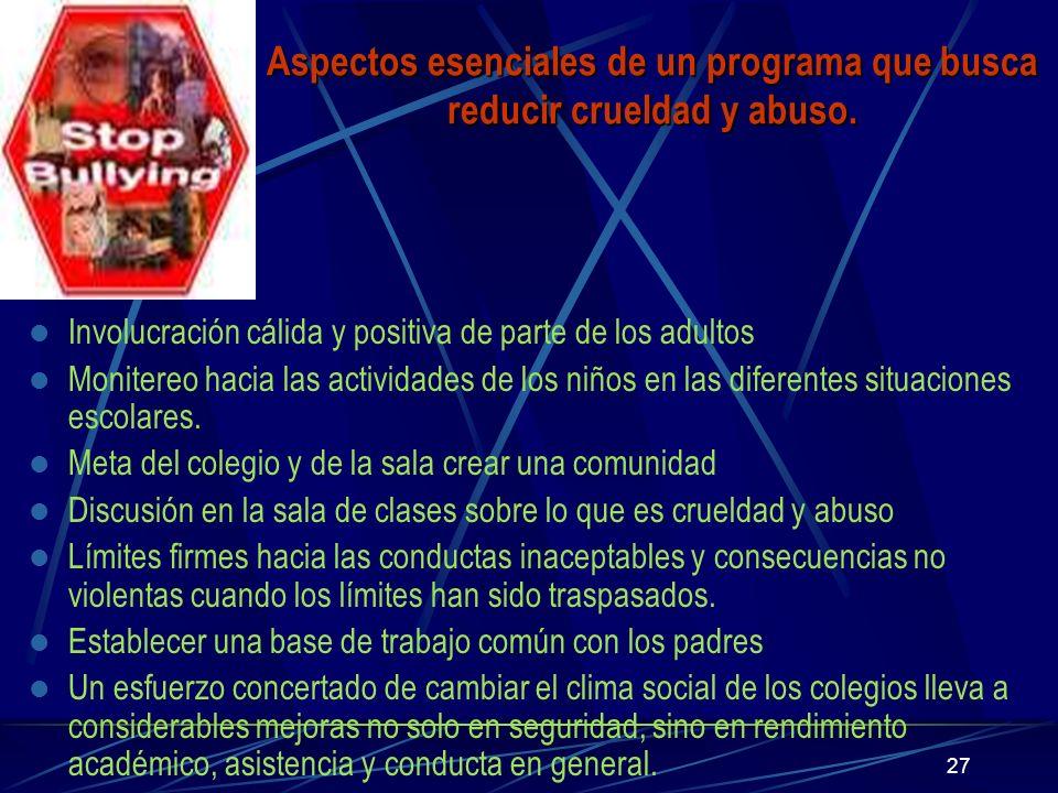 27 Aspectos esenciales de un programa que busca reducir crueldad y abuso. Involucración cálida y positiva de parte de los adultos Monitereo hacia las
