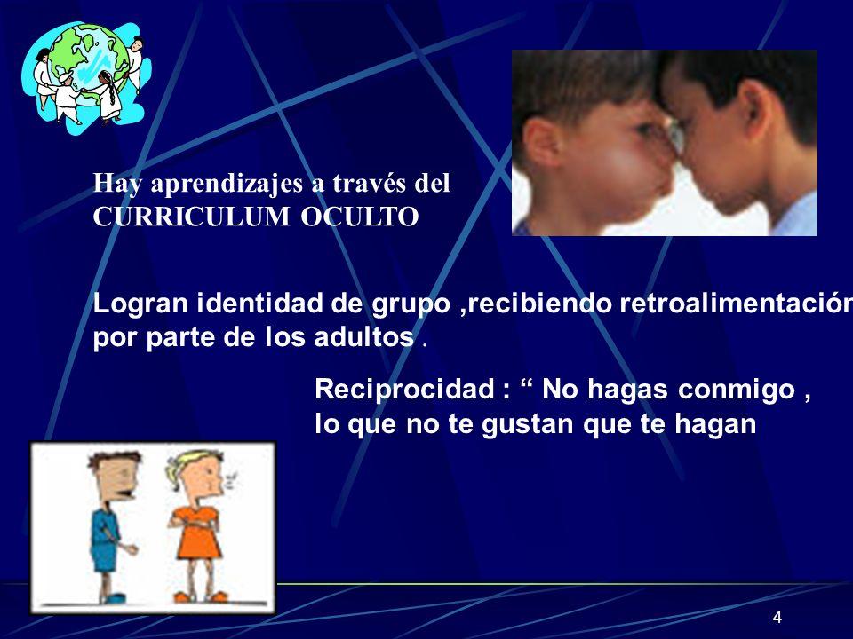 4 Hay aprendizajes a través del CURRICULUM OCULTO Logran identidad de grupo,recibiendo retroalimentación por parte de los adultos. Reciprocidad : No h