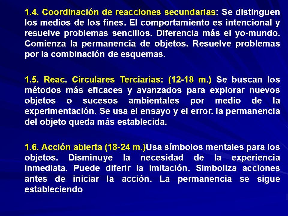 1.4. Coordinación de reacciones secundarias: Se distinguen los medios de los fines. El comportamiento es intencional y resuelve problemas sencillos. D