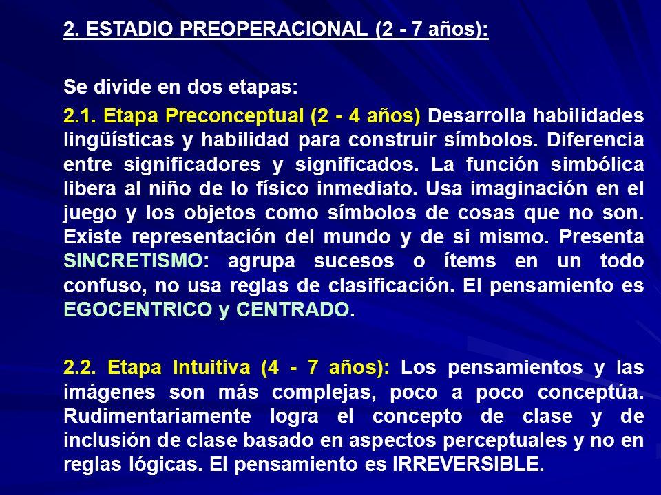 2. ESTADIO PREOPERACIONAL (2 - 7 años): Se divide en dos etapas: 2.1. Etapa Preconceptual (2 - 4 años) Desarrolla habilidades lingüísticas y habilidad