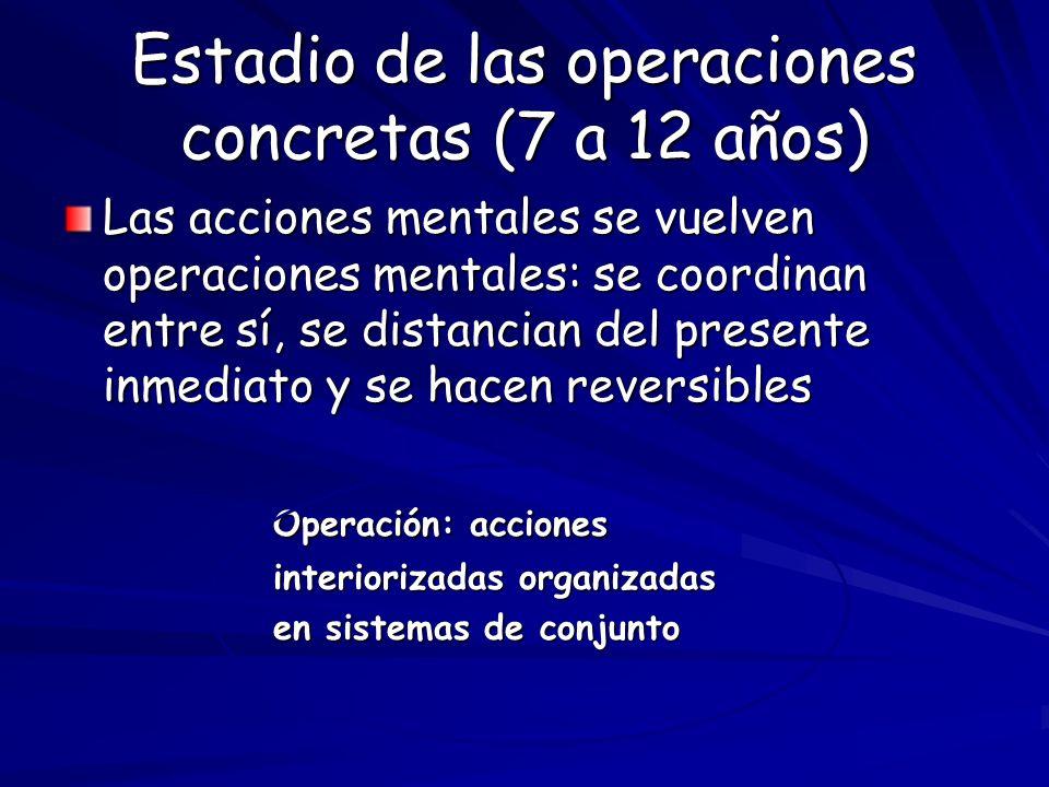 Estadio de las operaciones concretas (7 a 12 años) Las acciones mentales se vuelven operaciones mentales: se coordinan entre sí, se distancian del pre