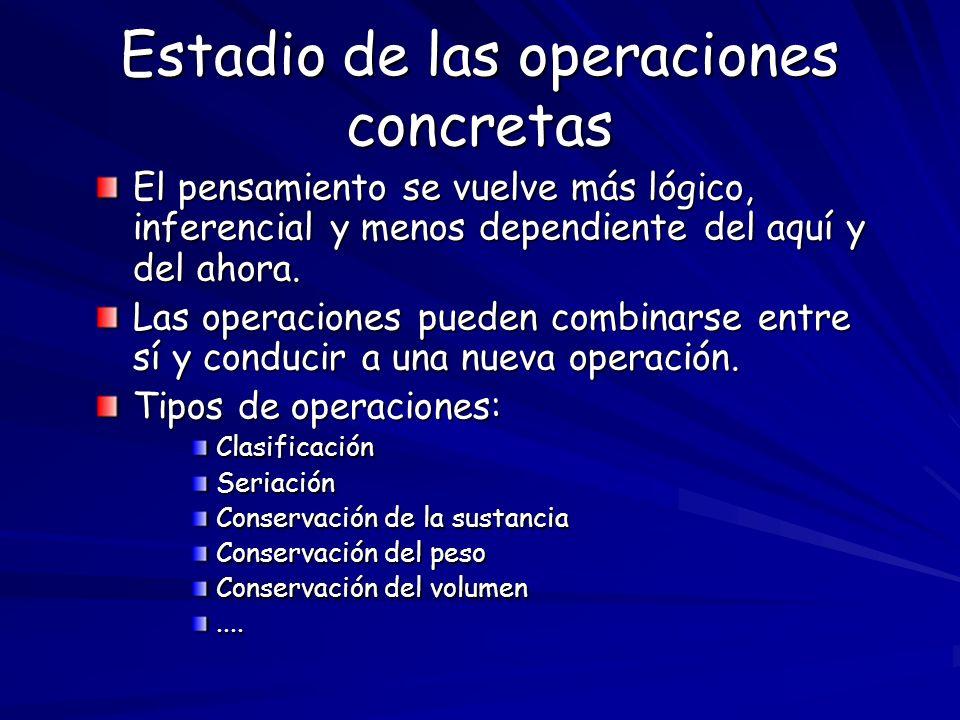 Estadio de las operaciones concretas El pensamiento se vuelve más lógico, inferencial y menos dependiente del aquí y del ahora. Las operaciones pueden