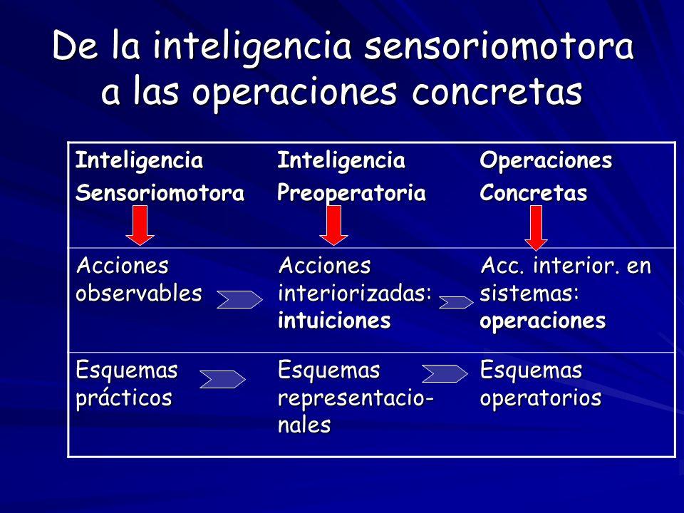 De la inteligencia sensoriomotora a las operaciones concretas InteligenciaSensoriomotoraInteligenciaPreoperatoriaOperacionesConcretas Acciones observa