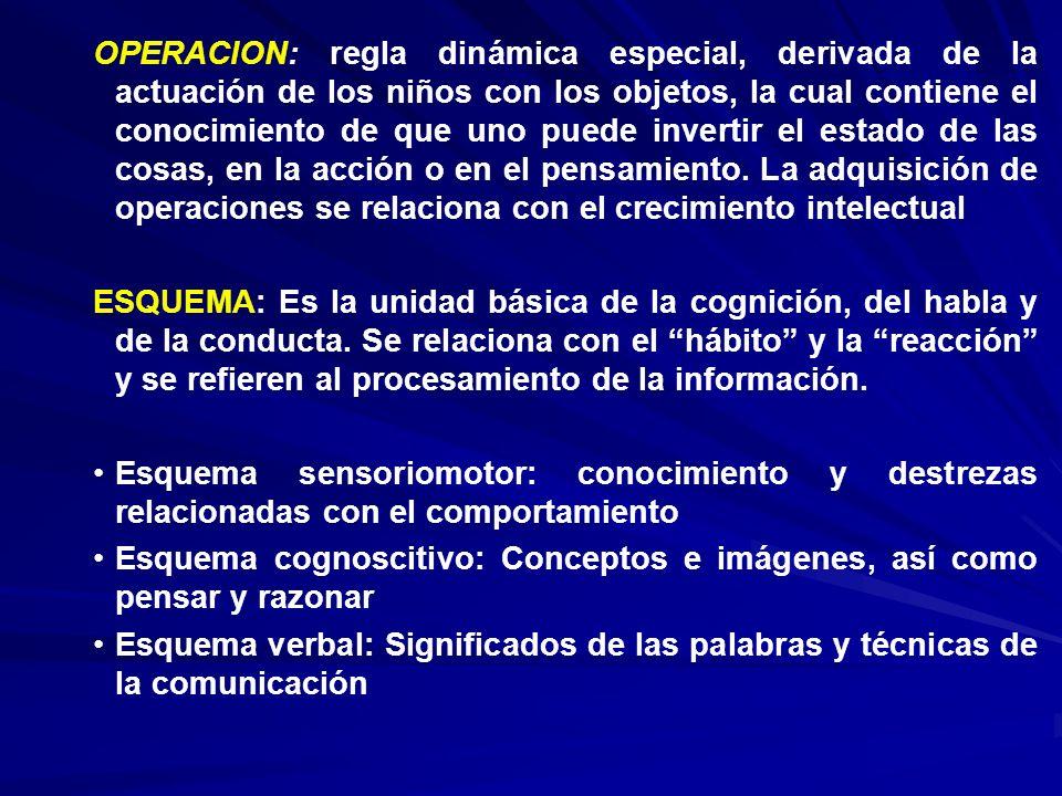 OPERACION: regla dinámica especial, derivada de la actuación de los niños con los objetos, la cual contiene el conocimiento de que uno puede invertir