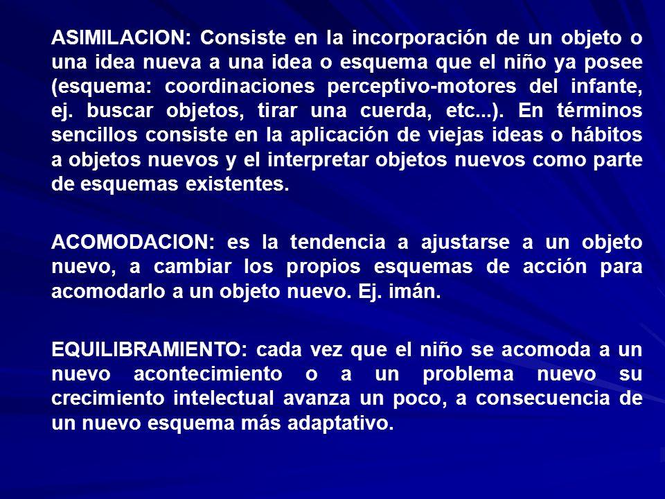 ASIMILACION: Consiste en la incorporación de un objeto o una idea nueva a una idea o esquema que el niño ya posee (esquema: coordinaciones perceptivo-