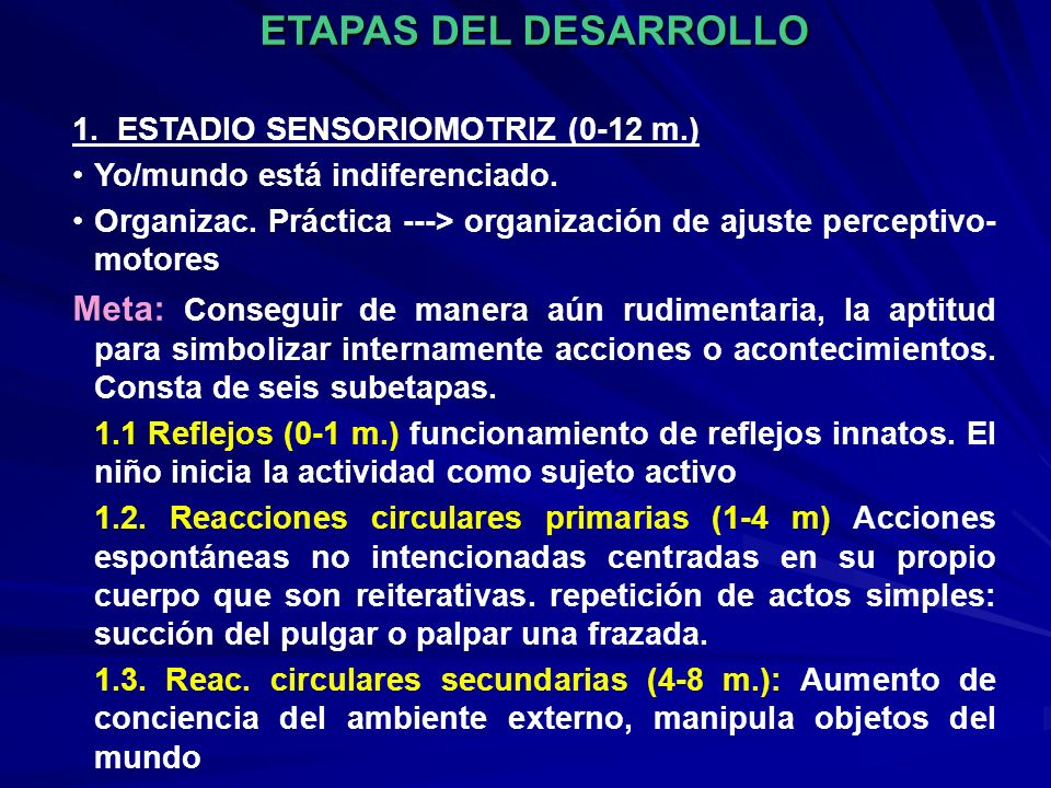 ETAPAS DEL DESARROLLO 1. ESTADIO SENSORIOMOTRIZ (0-12 m.) Yo/mundo está indiferenciado. Organizac. Práctica ---> organización de ajuste perceptivo- mo