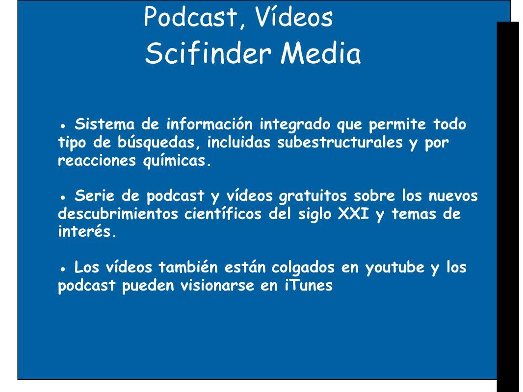 Podcast, Vídeos Scifinder Media Sistema de información integrado que permite todo tipo de búsquedas, incluidas subestructurales y por reacciones quími