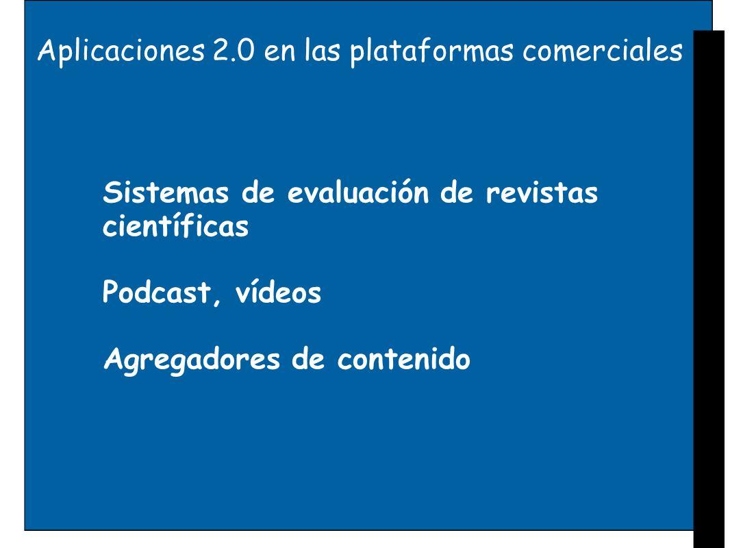 Aplicaciones 2.0 en las plataformas comerciales Sistemas de evaluación de revistas científicas Podcast, vídeos Agregadores de contenido