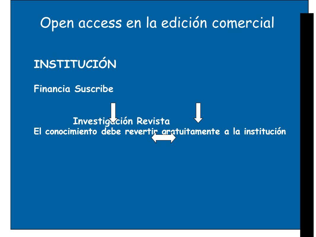 Open access en la edición comercial INSTITUCIÓN Financia Suscribe Investigación Revista El conocimiento debe revertir gratuitamente a la institución