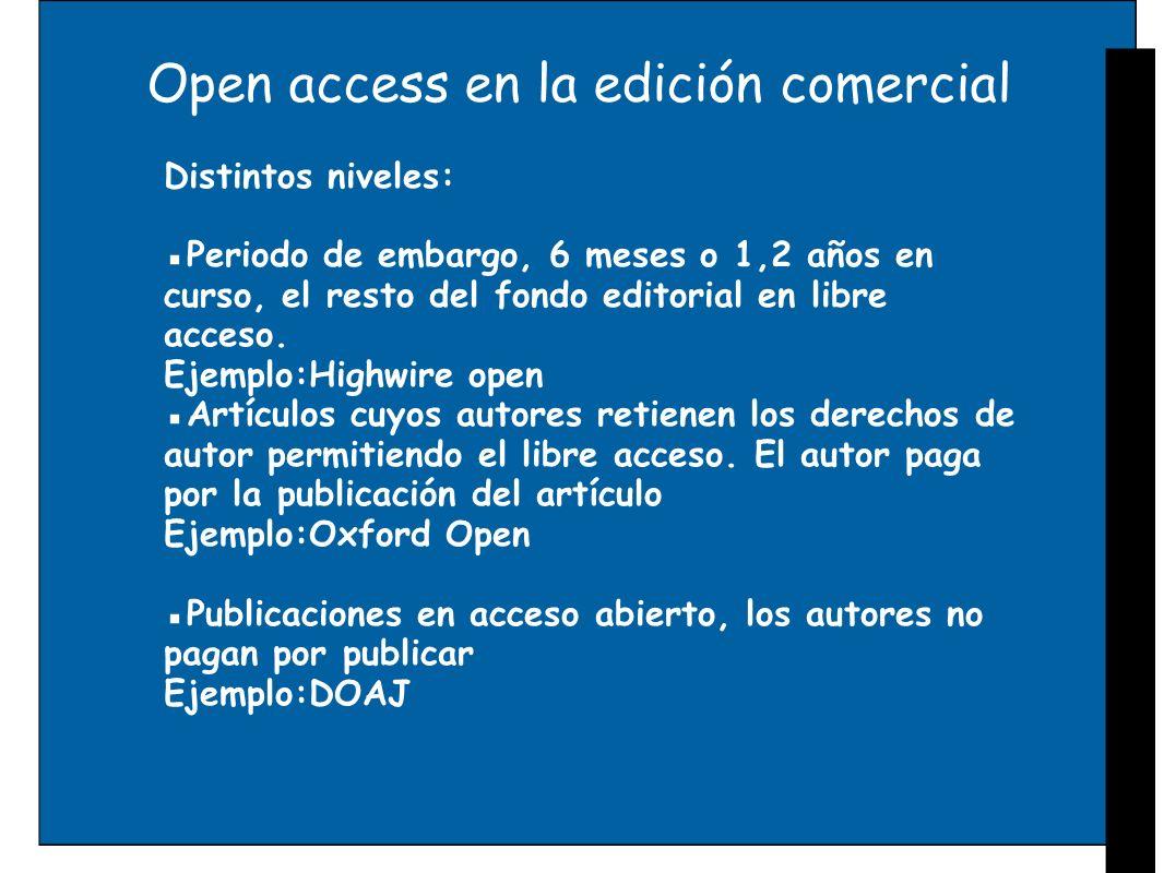Open access en la edición comercial Distintos niveles: Periodo de embargo, 6 meses o 1,2 años en curso, el resto del fondo editorial en libre acceso.