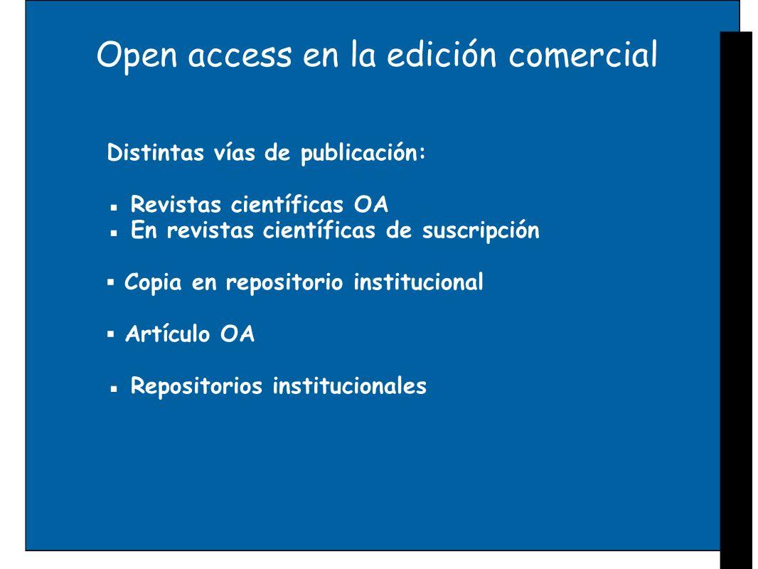 Open access en la edición comercial Distintas vías de publicación: Revistas científicas OA En revistas científicas de suscripción Copia en repositorio