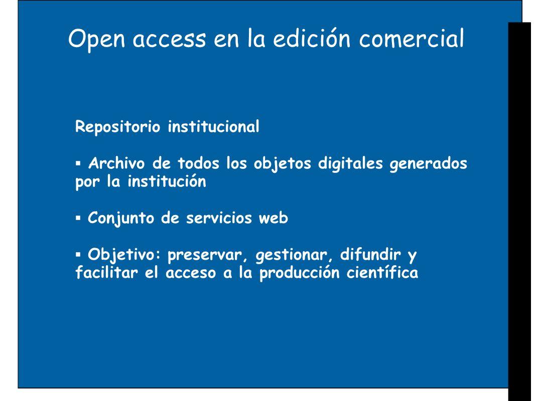 Open access en la edición comercial Repositorio institucional Archivo de todos los objetos digitales generados por la institución Conjunto de servicio