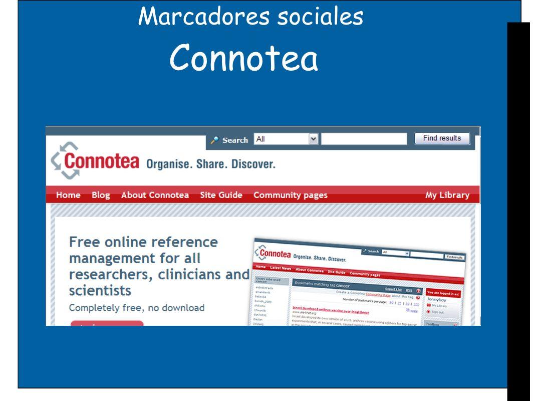 Marcadores sociales 2collab Desarrollado por Elsevier Integrado en su plataforma y libre disposición en la red Tres bloques integrados en un mismo espacio web: Marcador social en línea (socialbookmarking) Grupos de usuarios, públicos o privados Redes sociales profesionales