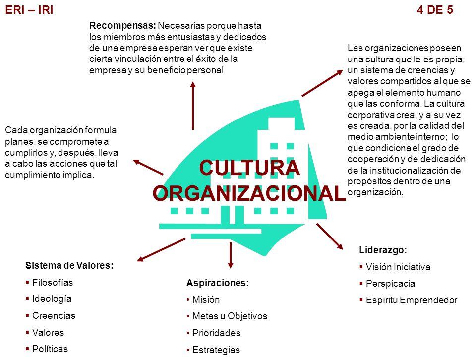 ERI – IRI 4 DE 5 CULTURA ORGANIZACIONAL Las organizaciones poseen una cultura que le es propia: un sistema de creencias y valores compartidos al que s