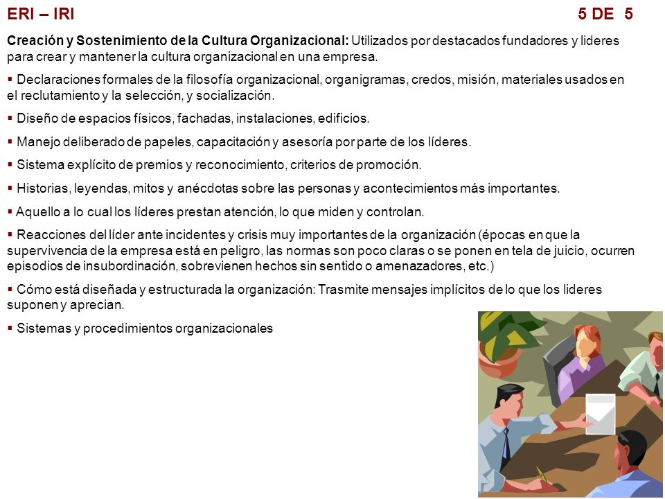 ERI – IRI 5 DE 5 Creación y Sostenimiento de la Cultura Organizacional: Utilizados por destacados fundadores y lideres para crear y mantener la cultur