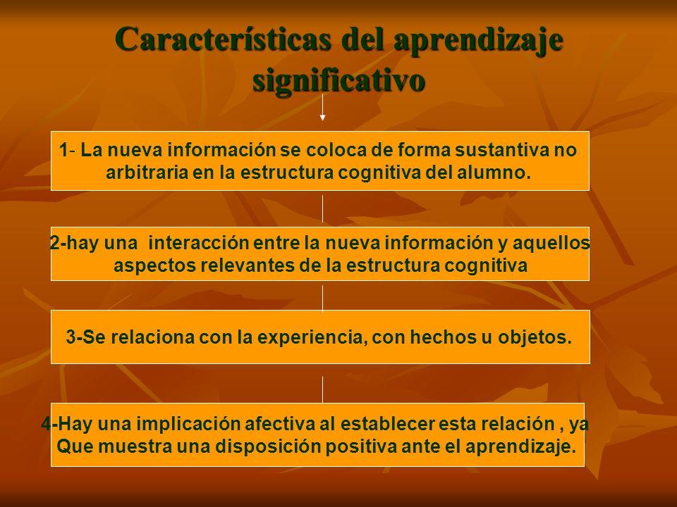 Características del aprendizaje significativo 1- La nueva información se coloca de forma sustantiva no arbitraria en la estructura cognitiva del alumn