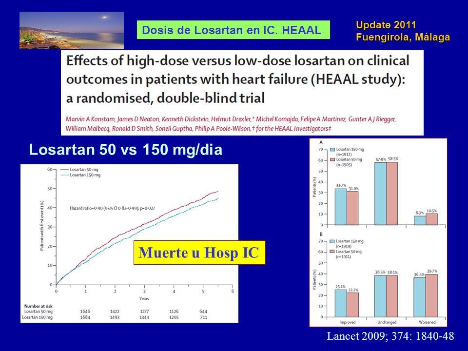 Update 2011 Fuengirola, Málaga Lancet 2009; 374: 1840-48 Losartan 50 vs 150 mg/dia Muerte u Hosp IC Dosis de Losartan en IC. HEAAL