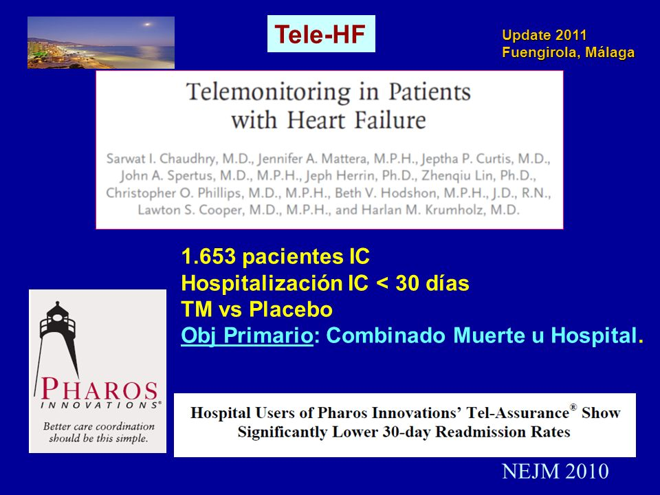 Update 2011 Fuengirola, Málaga NEJM 2010 1.653 pacientes IC Hospitalización IC < 30 días TM vs Placebo Obj Primario: Combinado Muerte u Hospital. Tele
