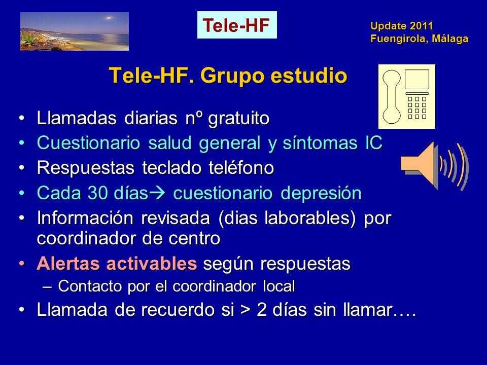 Update 2011 Fuengirola, Málaga Tele-HF. Grupo estudio Llamadas diarias nº gratuitoLlamadas diarias nº gratuito Cuestionario salud general y síntomas I