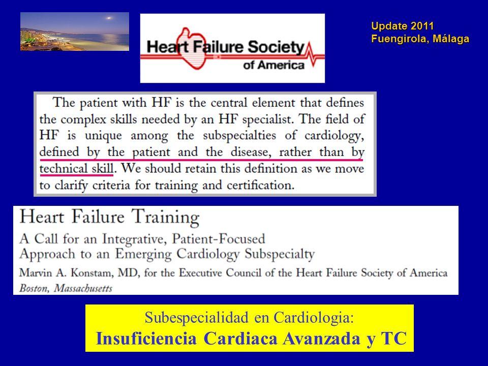 Update 2011 Fuengirola, Málaga Subespecialidad en Cardiologia: Insuficiencia Cardiaca Avanzada y TC