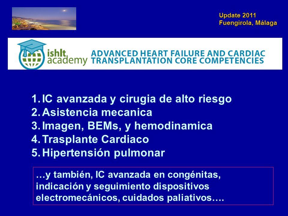 Update 2011 Fuengirola, Málaga 1.IC avanzada y cirugia de alto riesgo 2.Asistencia mecanica 3.Imagen, BEMs, y hemodinamica 4.Trasplante Cardiaco 5.Hip