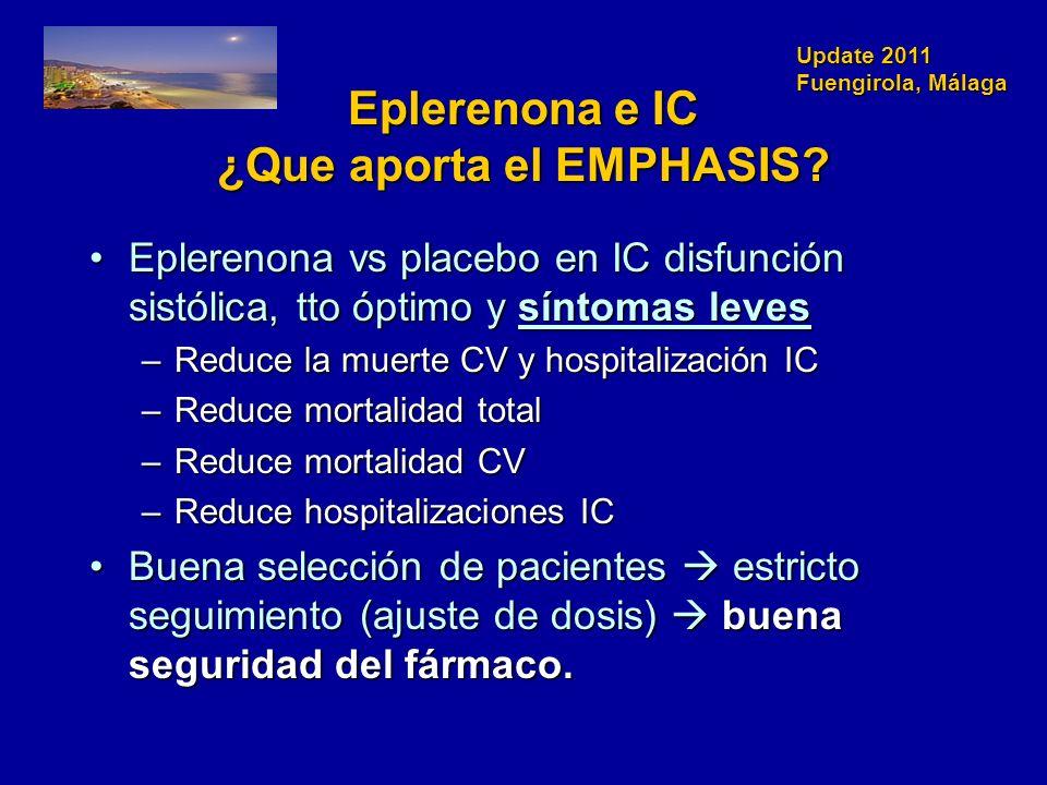 Update 2011 Fuengirola, Málaga Eplerenona e IC ¿Que aporta el EMPHASIS? Eplerenona vs placebo en IC disfunción sistólica, tto óptimo y síntomas levesE