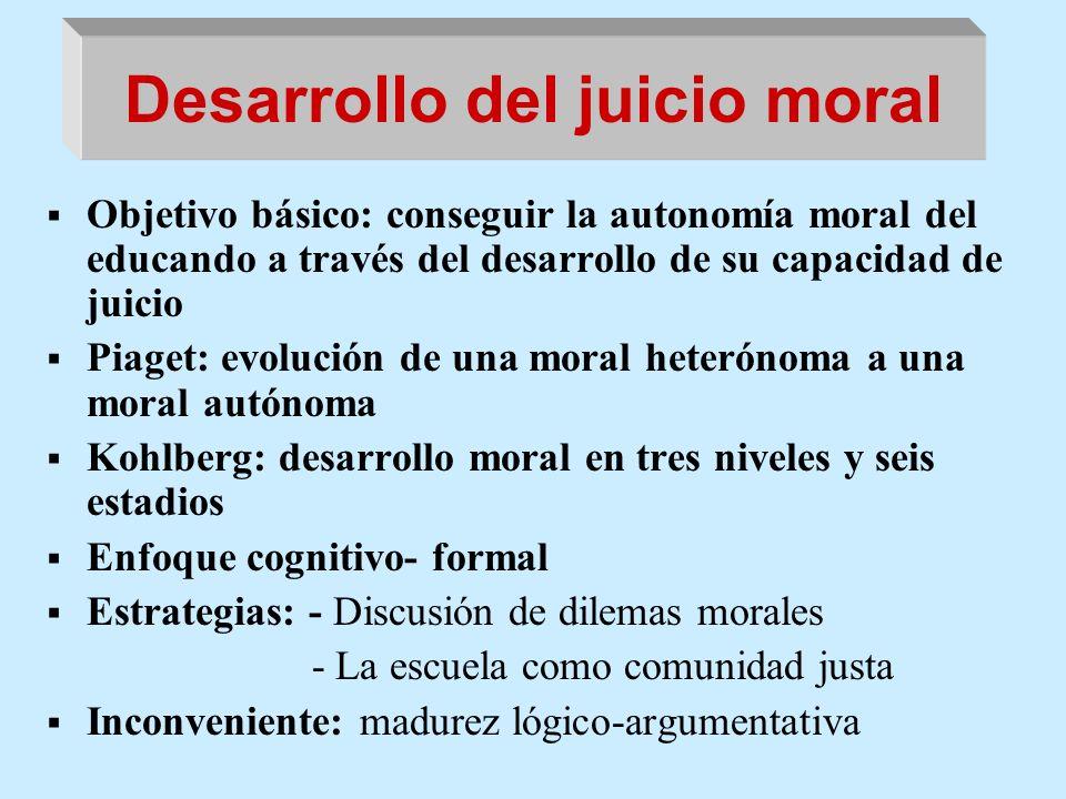 Desarrollo del juicio moral Objetivo básico: conseguir la autonomía moral del educando a través del desarrollo de su capacidad de juicio Piaget: evolu