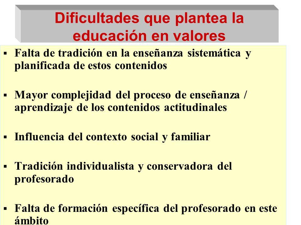 Dificultades que plantea la educación en valores Falta de tradición en la enseñanza sistemática y planificada de estos contenidos Mayor complejidad de