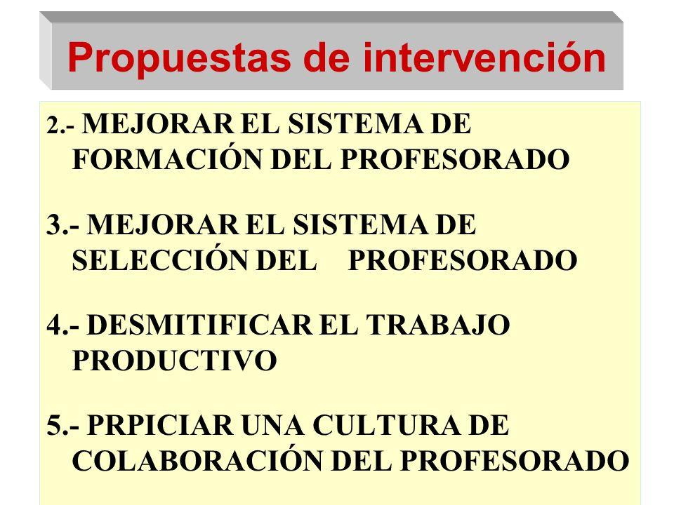 Propuestas de intervención 2.- MEJORAR EL SISTEMA DE FORMACIÓN DEL PROFESORADO 3.- MEJORAR EL SISTEMA DE SELECCIÓN DEL PROFESORADO 4.- DESMITIFICAR EL