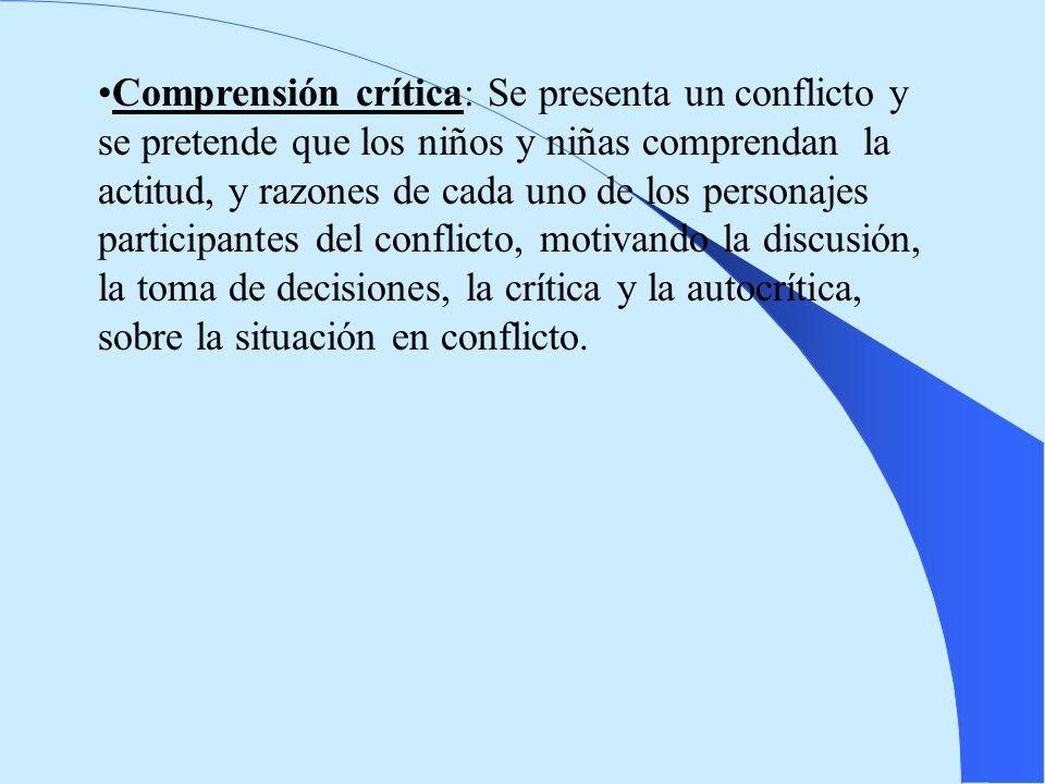 Comprensión crítica: Se presenta un conflicto y se pretende que los niños y niñas comprendan la actitud, y razones de cada uno de los personajes parti