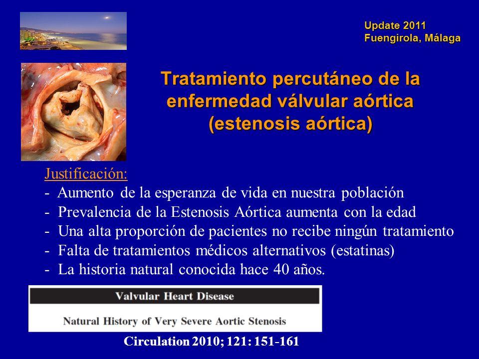 Update 2011 Fuengirola, Málaga Tratamiento percutáneo de la enfermedad válvular aórtica (estenosis aórtica) Justificación: - Aumento de la esperanza d