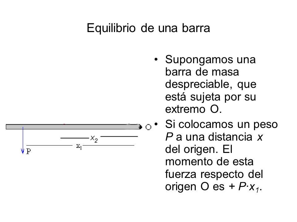 Equilibrio de una barra Supongamos una barra de masa despreciable, que está sujeta por su extremo O. Si colocamos un peso P a una distancia x del orig