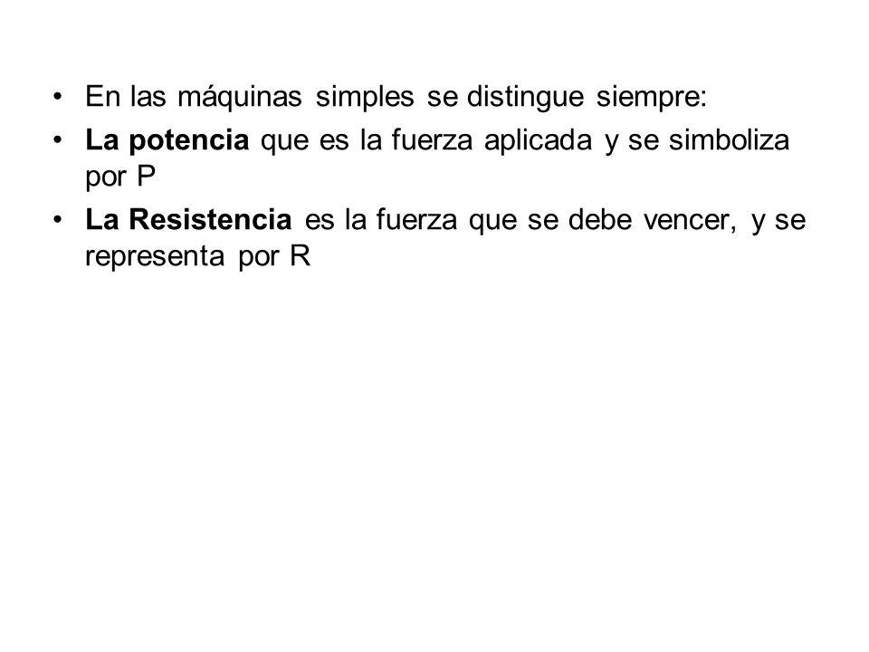En las máquinas simples se distingue siempre: La potencia que es la fuerza aplicada y se simboliza por P La Resistencia es la fuerza que se debe vence