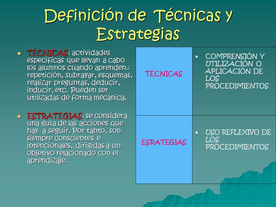 Definición de Técnicas y Estrategias TÉCNICAS: actividades especificas que llevan a cabo los alumnos cuando aprenden.: repetición, subrayar, esquemas,
